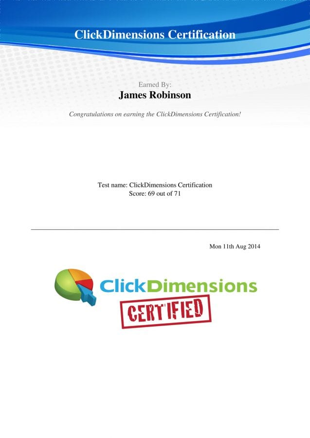 Clickdimensions certification for sysco software i am happy to announce that i have completed the clickdimensions certification process after attending clickdimensions academy a two week training academy 1betcityfo Gallery