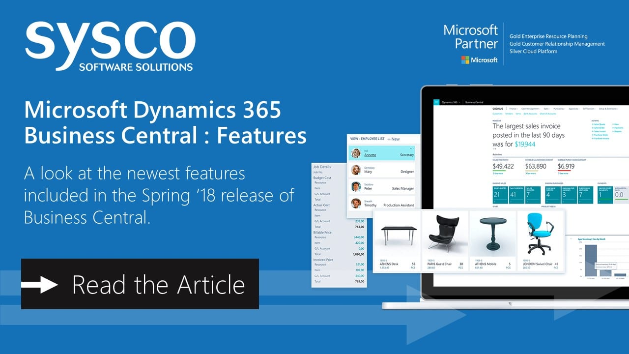 Microsoft Dynamics 365 Business Central : Features | Sysco Software
