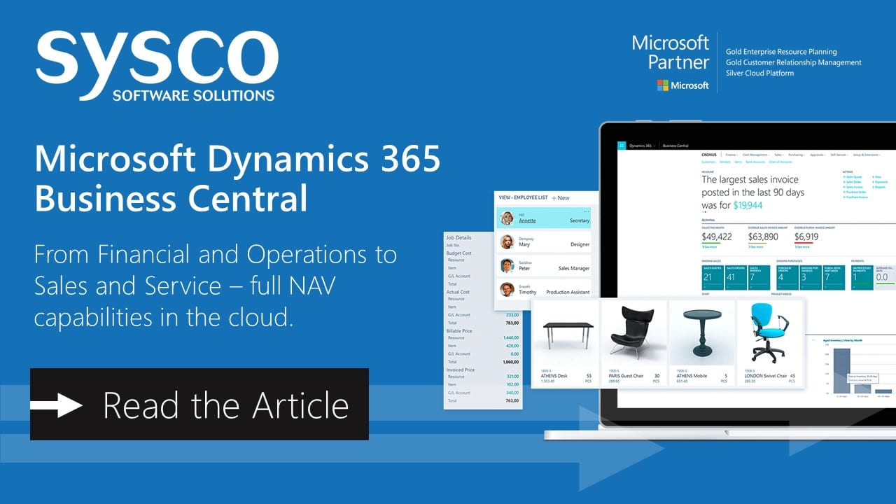Microsoft Dynamics 365 Business Central Announcement | Sysco