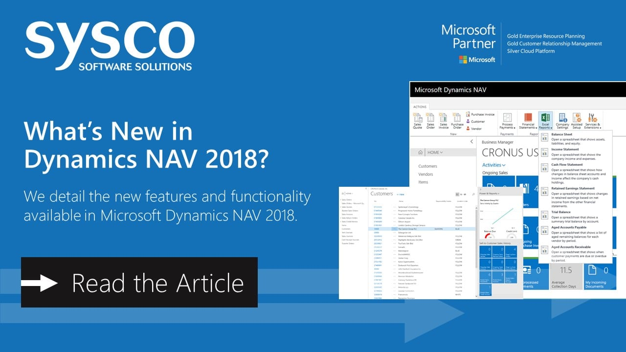 What's New in Microsoft Dynamics NAV 2018? | Sysco Software